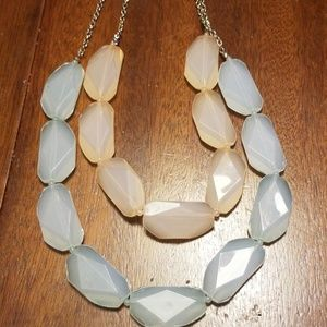 Light Teal and Peach Large Gem Necklace